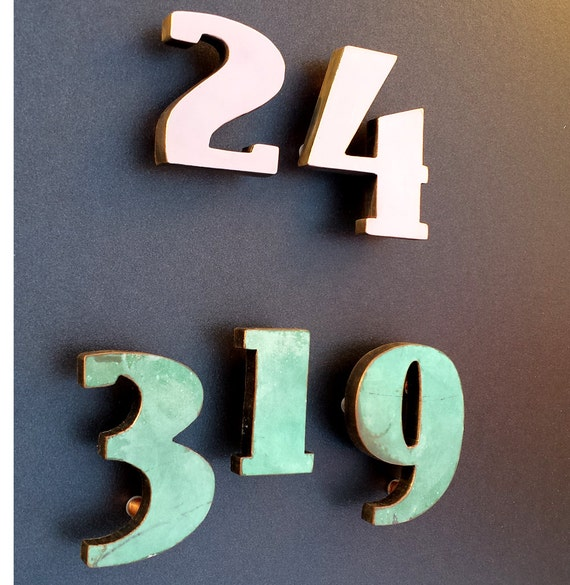 art deco 4 high copper faced floating house numbers. Black Bedroom Furniture Sets. Home Design Ideas