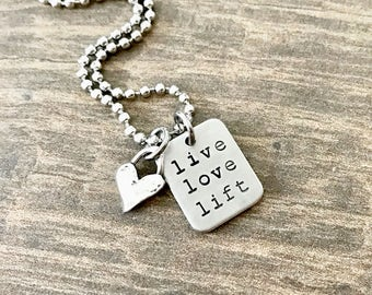 Live Love Lift, Fitness Jewelry, Lifting Necklace, Weightlifting Jewelry, Fitness Gifts, Workout Necklace, Weightlifting Necklace