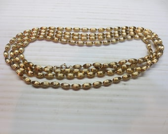 Signed Vintage Napier 12K GF Golden Chain Necklace 60 Inches Long