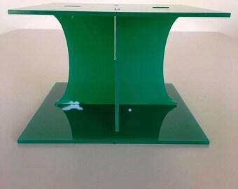 "Plain Square Green Gloss Acrylic Cake Pillars/Cake Separators, for Wedding / Party Cakes 10cm 4"" High, Size 6"" 7"" 8"" 9"" 10"" 11"" 12"""
