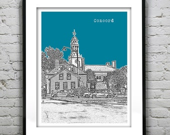 Concord Skyline Poster Art Print Massachusetts MA Version 1