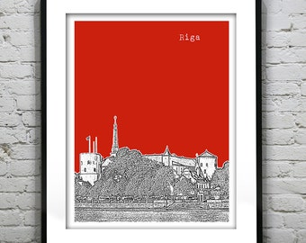 1 Day Only Sale 10% Off - Riga Latvia Skyline Poster Art Print Version 2