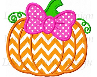 Thanksgiving Pumpkin with bowknot  Applique Machine Embroidery Design NO:0570