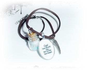 Necklace Angel saying, glass pendant feathers, wing