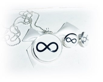 Set necklace, ear studs infinity