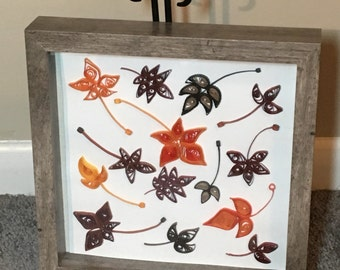 """Autumn Leaves - Framed Quilled Paper Art Fall Thanksgiving - Finished Shadow Box 8""""x8"""" Black Friday & Cyber Monday Sale!"""