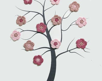Tiny flower appliques, 12 pc., 0.8 inches, crocheted, baby pink, dusty rose and soft orchid mix (A10137)