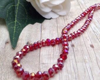 Crystal Beads / Faceted Crystal Beads / Faceted Crystal Rondelle Beads / 4 x 3 mm / 11.5 inch / 94 beads / Faceted Crystal Rondelles 4 mm