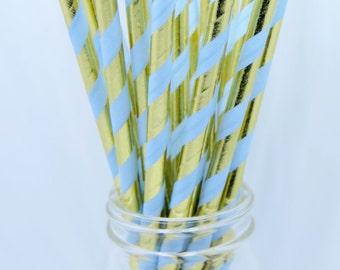 25 Count Paper Straws, Paper Straws, Blue and Gold Straws, Party Straws, Hazals Bazaar