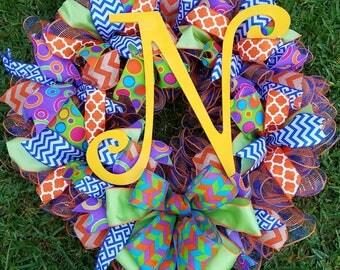 Deco Mesh Wreath, Burlap Wreath, Front Door Wreath,  Multi Colored Wreath. Multi Patterned Wreath, Garden Style Wreath