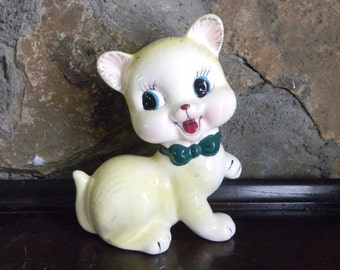 Ceramic Kitten, Happy Kitty, Ceramic Cat, Happy Cat, Smiling Kitten, Ceramic Figurine, 1950's Ceramics, 1950 Ceramic Pottery, Baby Nursery