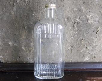 Vintage Glass Bottle, Clear Glass Bottle, Ribbed Glass Bottle, Pressed Glass Bottle, Midcentury Glassware, Mid Century Glass, Embossed Glass
