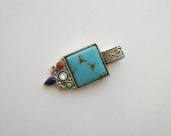 Vintage sterling silver turquoise pendant, multi stone pendant, square turquoise, Bali style silver, blue stone pendant, multi gemstone