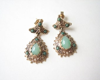 Vintage 14K gold earrings, East Indian style, gold green earrings, gold teardrops, ornate solid gold, 14k stud drops