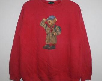 Vintage Ralph Lauren Polo Bear Campscout Sweatshirt Sportsman Stadium Bear P Wing Crest