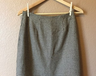 80s Brown Houndstooth Pencil Skirt