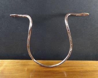 Artisan Copper Hammered Guitar Display Hook-Textured, Drilled, Wall Hanging, Folk Art