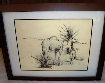 Rare Vintage Signed 1989 Kach Camels in Desert Framed Art Print Number 40/50