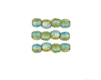 AQUA CELSIAN: 3mm Faceted Round Firepolish Czech Glass Beads (50 beads per strand)