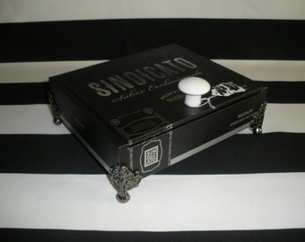Black Sindicato Cigr Box Valet, Watch Box, Stash Box, Jewelry Box, Tampa, Authentic