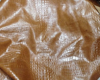 EMB19 Leather Cow Hide Cowhide Craft Fabric Brown Embossed Alligator 51 sq ft  FREE SHIPPING