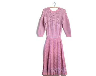 Vintage knitted dress / pink wool dress / knitted prom dress / quirky dress / hand knitted vintage dress / pink wool  dress / 60s hippie