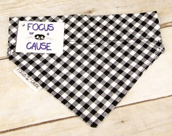 Black and White Checkered Dog Bandana, Slide Over the Collar Dog Bandana, Plaid Bandana, by Focus for a Cause