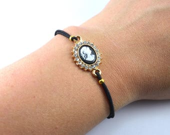 Cameo cord bracelet