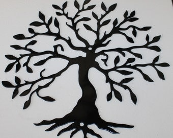Tree of Life 2 Metal Wall Art Home Decor Gloss Black