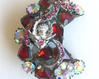Refurbished Vintage Brooch Rhinestone Victorian Crystal Woman's Girls Ladies Angel