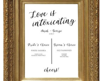 Bar Sign, Wedding Sign, Bar Menu, Wedding Menu, Menu Sign