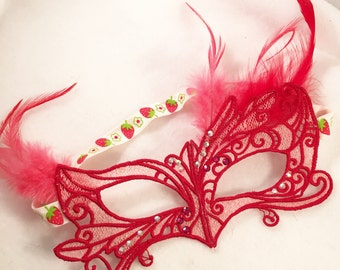 Strawberry Shortcake costume mask, Gatsby! Lace feather crystal mask masquerade ball dance prom  holiday mardi gras