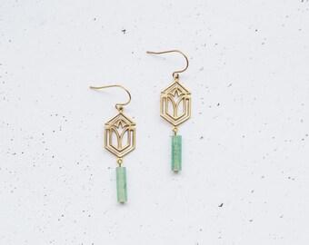 Geometric Aventurine Art Deco Earrings