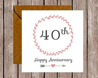 Wreath 40th Anniversary Card