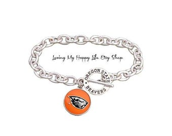 OREGON State BEAVERS Charm BRACELET Cable Chain with University Name and Athletics Team Name Toggle Clasp