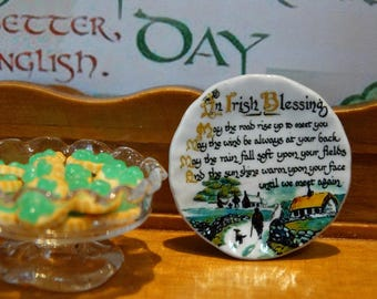 Irish Blessing Miniature Plate for Dollhouse 1:12 scale