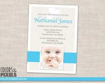 Dove Baptism Invitation, Christening Photo Invitation, First Communion DIY Printable Invitation, Confirmation Invitation, Photo Invite R003