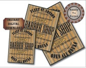 Steampunk Barber Shop Goth Sign Printable Set Aged Victorian Fleet St. London Bay Rum on the House Closest Shave in Town No Discrimination