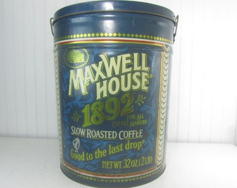 Metal Tin Can, Maxwell Coffee Tin, Metal canister, large can,farmhouse decor, vintage kitchen, storage container, tin can,