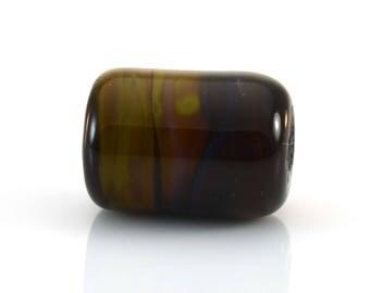 Silvery Browns Handmade Glass Lampwork Bead