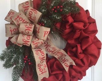 Christmas wreath, Burlap Christmas wreath,  winter wreath, christmas Burlap home decor, christmas wreath