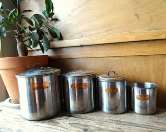 VTG Set of 4 Stainless Steel Canisters with Copper Labels Tea Sugar Flour Coffee