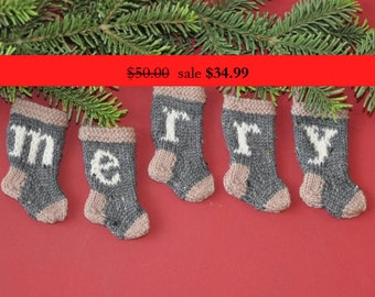 MERRY  Set of 5  Grey & Camel Hand-Knit Christmas Stocking Ornaments  SALE