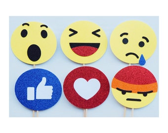 Facebook Reaction Emoji Photo Booth Props ; Emoticon Like Thumbs Up Smiley Face Props ; Facebook Like ; Social Media Party Decoration