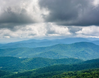 Layers of the Blue Ridge Mountains, Skyline Drive in Shenandoah National Park, Virginia.   Photo Print, Stretched Canvas, or Metal Print.