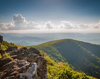View from Hawksbill Summit, in Shenandoah National Park, Virginia. | Photo Print, Stretched Canvas, or Metal Print.