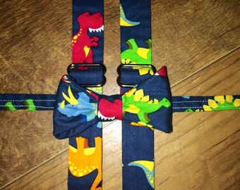 Dinosaur navy and bright colored  print  boys bow tie suspender set - boy,child, toddler necktie/bow tie -perfect for pictures birthdays