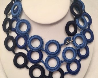 Blue crochet necklace   Handmade. Crochet jewelry. Fiber jewelry
