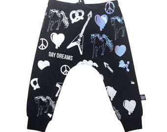 Boys Pants / Toddler harem pants / Organic cotton - black baby boys pants / Harem Toddler pants / Cool kids fashion