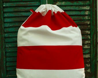 Red and White Cabana Laundry Bag